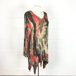 Boho dyed top embroidered tunic Free Size xl